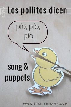 """Free printable clothespin puppet to go with the song """"Los pollitos dicen."""" Cute…"""