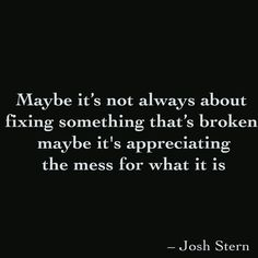 Maybe it's not always about fixing something that's broken, maybe it's appreciating the mess for what it is
