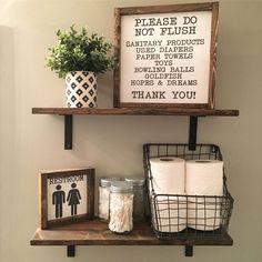 Open Shelves | Farmhouse Decor | Fixer Upper Style | Wood Signs| Bathroom Decor | Bathroom Sign