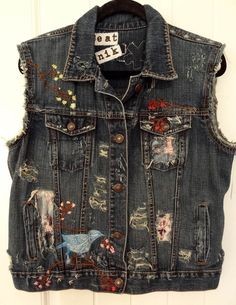 Destroyed Embroidered Boho Jean Jacket Denim Vest by DakinisChoice, $99.00