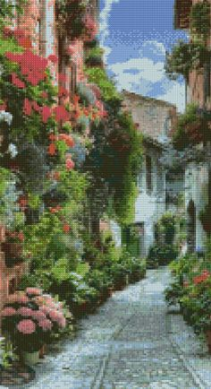 Spello Italy Street Cross Stitch pattern PDF Instant