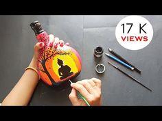 Plastic Bottle Art, Glass Bottle Crafts, Wine Bottle Art, Painted Glass Bottles, Decorated Bottles, Painted Jars, Arts And Crafts Storage, Glass Painting Designs, Art N Craft