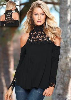 Plus Size Sexy Off Shoulder 2016 Spring Summer Women Blouses Turtleneck Casual Long Sleeve Lace Blouse Shirts Tops Sexy Bluse, Style Année 90, Black Cold Shoulder Top, Shoulder Tops, Look Fashion, Womens Fashion, Xl Fashion, Fashion Dresses, Shirt Bluse