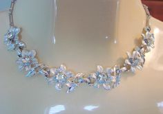 50s Rhinestone Silver Tone Necklace Floral Motif Links by joysshop, $14.95