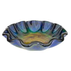 Eden Bath Wave Rim Glass Vessel Sink in Multi Colors with Pop-Up Drain and Mounting Ring in Brushed Nickel, Blue With A Mix Of Orange And Yellow