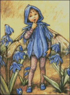 FAIRY BLUE FLOWERS cross stitch pattern No.92
