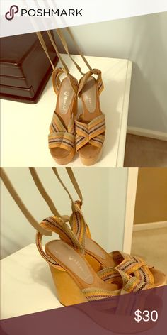 Jeffrey Campbell lace-up open-toe wedges size 7 These platforms are larger than life! I have worn them a few times. Super cute with a sundress! 😎 Jeffrey Campbell Shoes Wedges