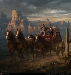 Old west stagecoach scene or painting Old West, Into The West, West Art, American Frontier, Cowboy Art, Matte Painting, Le Far West, Westerns, Mountain Man