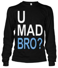 $21.95 Cybertela U Mad Bro? Thermal Long Sleeve T-shirt (Black Small)