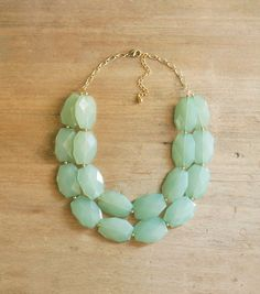 Aqua Mint Double Strand Statement Necklace Necklace by ShopNestled