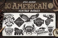American Vintage Badges Part 4 by OpusNigrum on Creative Market