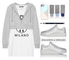 """Untitled #1753"" by mycherryblossom ❤ liked on Polyvore featuring Moschino, Prada Sport, Casetify, Burberry, Christian Dior, WhatToWear, polyvoreeditorial, polyvorestyle and SNEAKERSANDDRESSES"
