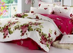 Elegant Wine Red Peony With Green Leaves 4 Piece Bedding Sets on sale, Buy Retail Price Cheap Cotton Bedding Sets at Beddinginn.com