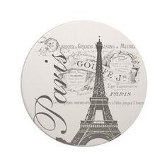 Vintage Paris Eiffel Tower Illustration Beverage Coasters