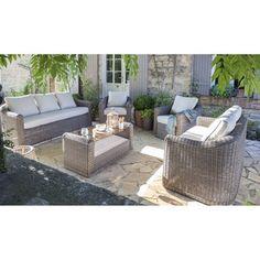 Aménagez votre terrasse avec un joli salon jardin Cap gris anthracite. #terrasse #mobilierexterieur #salondejardin