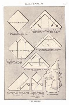 Mrs Beeton's Napkin Folding Illustrations 1923 Edition