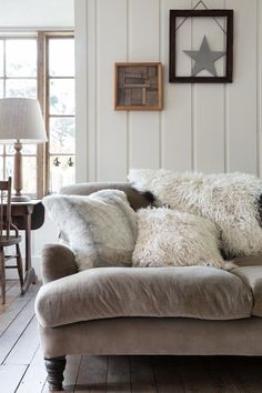 How To Hygge: Embrace the Cosy Danish Concept - How To Hygge - Ideas of How To Hygge - Add texture think faux fur cushion covers wool blankets and the like. For more tips on bringing hygge into your life check out The Little Book of Hygge by Meik Wiking. Winter Living Room, Cozy Living Rooms, Home And Living, Living Room Decor, Living Spaces, Cosy Cottage Living Room, Danish Living Room, Decor Room, Small Living