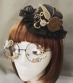 Novelties Steampunk Victorian Gears Mini Top Hat Costume Hair Accessory Handmade With Steam Punk Gear Glasses