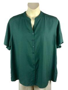 0e11b5f8a94 Womens Krazy Kat Green Plaid Button Down Shirt Plus Size 3X Rayon Polyester  S