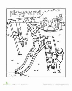Preschool Places Worksheets: Playground Coloring Page