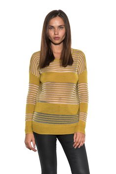 Valley pullover - yellow by one grey day - sheer stripes with bold blocking detail on the bust, waist, and hemline on a body skimming silhouette.