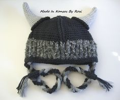 Crocheted Viking Hat... see more on facebook Made In Kansas By Rosi