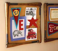 Baseball Bat Corkboard - great way to display art, keepsakes, photos, etc.  Find old bats and get corkboard to make my own.
