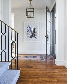 Entrance/foyer design photos, ideas and inspiration. Amazing gallery of interior design and decorating ideas of entrances/foyers by elite interior designers - Page 2 Entryway Stairs, Entrance Foyer, Entry Hallway, Door Entry, Entryway Decor, Foyer Design, House Design, Staircase Design, Blue Hallway