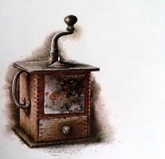 Original Hubert Shuptrine Old Country Coffee Grinder Print, southern art Litho, Farmhouse decor, Wooden Grinder, Old Farm Kitchen, Ltd print by MushkaVintage3 on Etsy