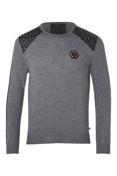 Philipp Plein | 'Clean Insert' Pullover Grey | Pullover enriched by leather patches on the shoulders.