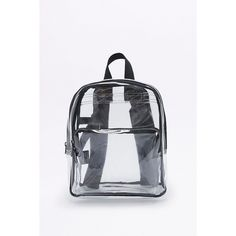 Clear Mini Backpack (€41) ❤ liked on Polyvore featuring bags, backpacks, clear, see through backpack, day pack backpack, clear bags, clear backpacks and heavy duty plastic bags