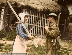 Allied soldiers are seen chatting to locals, smiling and taking time out during the Battle of Passchendaele, where more than men lost their lives, from July 31 to November Ww1 Soldiers, Canadian Soldiers, British Soldier, World War One, Second World, First World, Ww1 Battles, Battle Of Passchendaele, Ww1 History