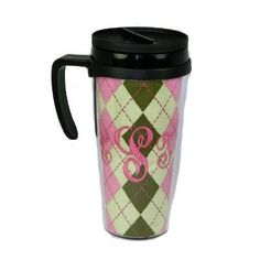 Monogrammed 'Preppy Argyle' Travel Mug