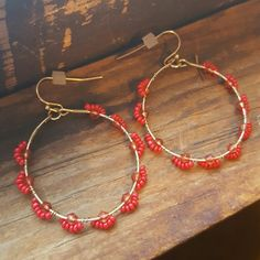 Francesca's Beaded Hoop Earrings Beaded Hoop Earrings from francesca's. Red beads with gold. Never worn. Loved these earrings but the Hoop shape didn't really go well with me. Francesca's Collections Jewelry Earrings
