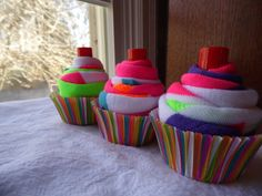 Set of 4 Fun SockCake Cupcake Party Favors: Made to Order for Your Next sleepover, sweet 16, tea party, baby shower on Etsy, $24.00