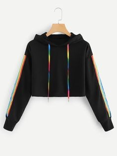 Hooded sweatshirt with tape Teenager Outfits Hooded Sweatshirt tape Girls Fashion Clothes, Teen Fashion Outfits, Mode Outfits, Girl Outfits, Womens Fashion, Prom Outfits, Sporty Fashion, Sporty Chic, Fashion Wear
