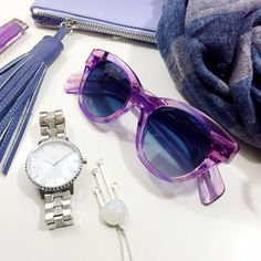 LOWEST: Wildfox Translucent Purple Sunglasses Details: • Purple acetate frames • UV A and UV B protection • Eye width: 49mm • Bridge width: 21mm • Temple length: 150mm • New in box with case and cleaning cloth   04141611 Wildfox Accessories Sunglasses