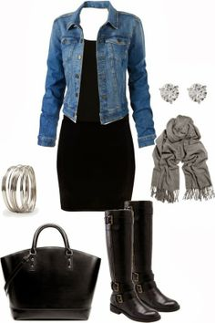 Black dress with jean jacket black boots and accessories combination in which earrings and bracelet