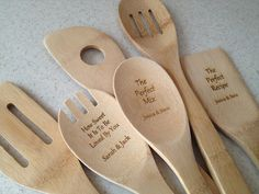 Engraved Wooden Utensil Set, Bridal Shower Gift, Tupperware Party, Unique Wedding Gift, Engraved Wooden Spoons