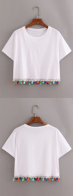 White Contrast Fringe T-Shirt                                                                                                                                                                                 More