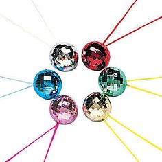 These Disco Ball Necklaces feature metallic disco balls in assorted colors with matching string to match.