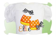 SAMPLE SALE- Personalized Candy Corn Embroidered Shirt or Onsie- Halloween shirt - Candy corn Shirt- Girls Shirt on Etsy, $17.00