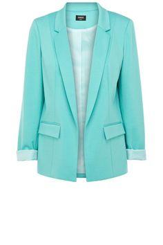 Un blazer menthe à leau Oasis Winter Outfits Women, Winter Coats Women, Coats For Women, Clothes For Women, Azul Tiffany, Tiffany Blue, Knit Blazer, Knit Jacket, Blazer Jacket