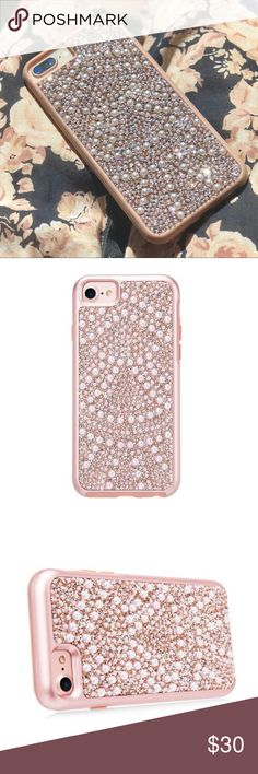 Rose Gold Faux Pearl Case 6+, 7, 7+, 8, 8+ ✨✨new listing✨✨ Your case is boutique & BNWT Beautiful chic rose gold iPhone case with faux pearl and ultra glittery crystals, available for iPhone 7, 8, 6 Plus, 7 Plus & 8 Plus This can be an everyday case if you love glam or a special occasion case for a birthday, parties, wedding etc.  Rose Gold is a must have color this spring Accessories Phone Cases