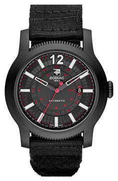 Free shipping and returns on Zodiac 'Jet-O-Matic' Automatic Watch, 46mm at Nordstrom.com. A vintage aircraft-inspired dial pairs with a finely textured case to celebrate early aviation in a sleek matte-black watch. A NATO-style nylon strap completes the sporty look.