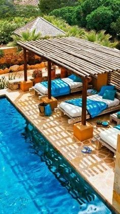 Patio Pergola Designs Perfect For The Summer Days Beds by the pool, now there's an idea.Beds by the pool, now there's an idea. Small Swimming Pools, Swimming Pools Backyard, Swimming Pool Designs, Pool Landscaping, Swiming Pool, Indoor Swimming, Backyard Pavilion, Wooden Pergola, Backyard Pergola