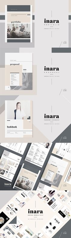 Inara Collection - For those looking for a professional presentation, the 'Inara' Pitch Pack for Adobe InDesign offers a modern and elegant design that includes everything you need from pitching to billing a client. From your initial introduction to pitching your client, then presenting your ideas to finally billing, all required templates are included following the same 'Inara' style for consistency across your project. #business #brochure #logo #design