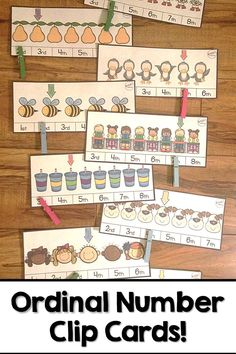 Need a creative, hands-on way to practice identifying ordinal numbers? These 30 clip cards make a GREAT math center! Numbers Preschool, Learning Numbers, Ordinal Numbers, Printable Numbers, Numbers Kindergarten, Preschool Games, Kindergarten Activities, Teaching Math, Preschool Classroom