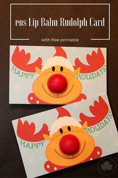 adorable eos rudolph card with free printable - Mom vs the Boys