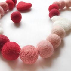 Valentines; Rainbow; Ombre; Garland; Party Garland; Felt Balls; Heart; Playroom; Home Décor; Baby Room; Pom Pom Garland – And so to Shop Felt Ball Garland, Party Garland, Pom Pom Garland, Red Ombre, Paper Tape, Decoration, Wool Felt, Valentine Gifts, Baby Room